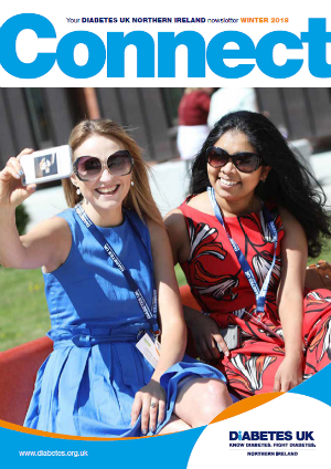 Photo of cover of Connect magazine - two females taking a selfie