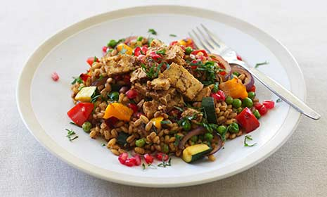 Barley pilaf with tofu