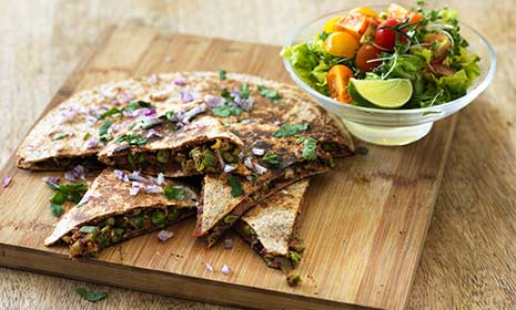 Spicy bean quesadillas