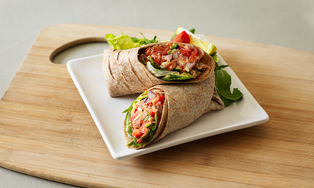 Salmon Red Onion And Sweet Pepper Wraps