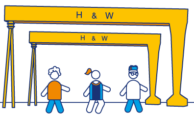 illustration of h&w cranes and runners underneath in Diabetes UK colours